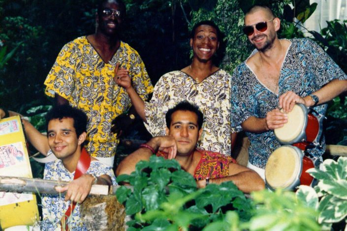 Our steel band with bongo drums 1988