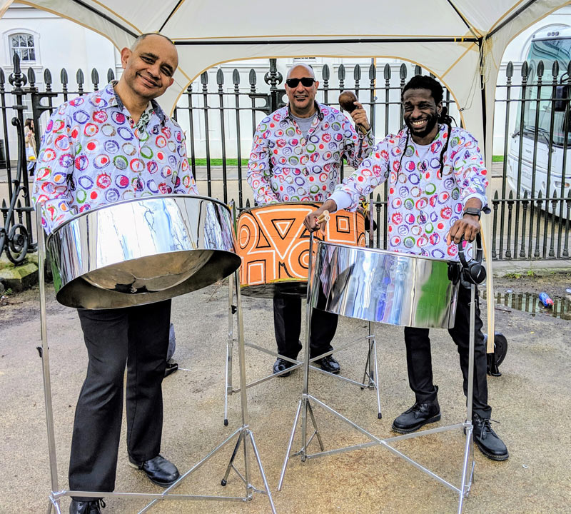 calypso music with a steel band